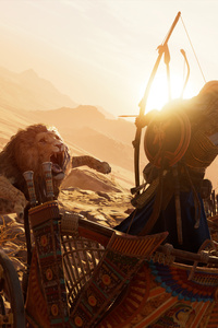 320x480 Lions Assassins Creed Origins 4k
