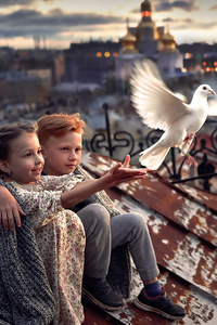 Little Boy And Girl Pigeon Roof 4k