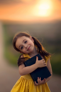480x854 Little Cute Girl With Book