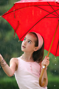1080x2280 Little Girl In Rain With Umbrella 4k