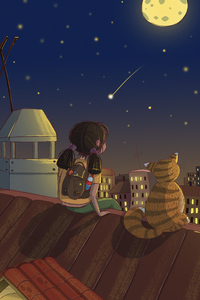 Little Girl Looking At The Stars With Cat 4k