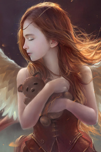 540x960 Little Girl Wings Angel With Teddy 4k