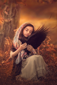 480x800 Little Girl With Bird Sitting On Lap 5k