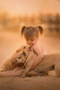 1242x2688 Little Girl With Cute Pups