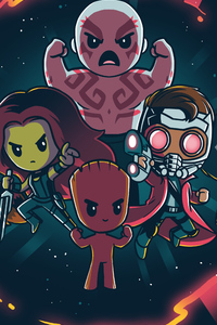 1280x2120 Little Guardians Of The Galaxy Art