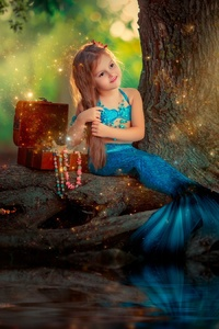 1125x2436 Little Mermaid Girl