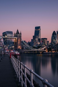 London England Tower Bridge Thames River Cityscape Urban