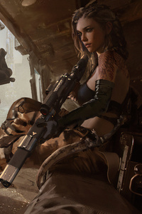 480x800 Lone Girl With Guns 4k