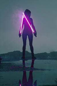 480x854 Lone Jedi Star Wars Girl 4k