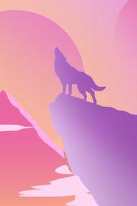 800x1280 Lone Wolf Howling Minimal 4k