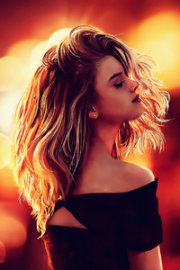 240x320 Long Blonde Hair Artwork 4k