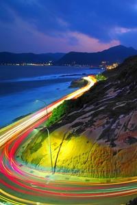 Long Exposure Lights Road 4k