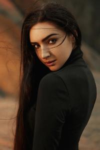 1440x2560 Long Hair Black Clothing Girl Smiling 4k
