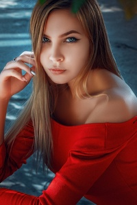 540x960 Long Hair Blonde In Red Dress
