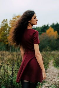 Long Hair Red Dress Outdoors