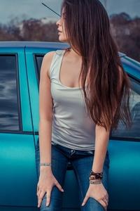 2160x3840 Long Hair Women With Cars