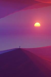 Looking At Sun In Desert 5k