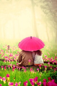 Love Couple In Pink Garden