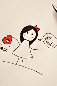 2160x3840 Love Heart Drawing