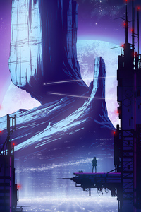 800x1280 Love The Heights Cyberpunk Mountains View 4k