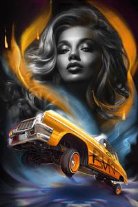 750x1334 Lowrider Girl Chevy Art