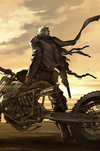 320x568 Mad Max Biker Art