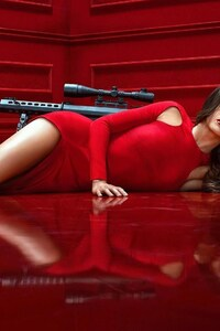 Maggie Q In Red Dress