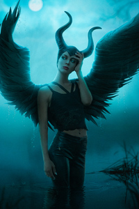 1242x2688 Maleficent Cosplay 4k