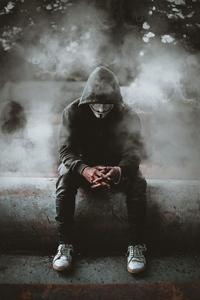 640x960 Man Black Hoodie Anonymus 4k