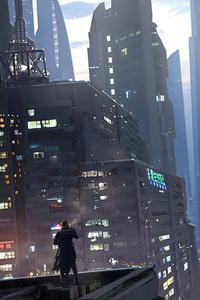 Man Looking At Twilight Scifi World 4k
