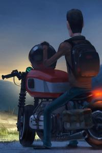 640x1136 Man On Bike Night