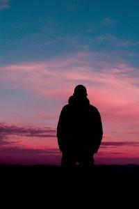 Man Silhouette Sky Solitude 5k