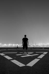 Man Standing Helipad Monochrome 5k