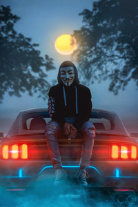 480x800 Man Wearing Guy Fawkes Mask While Sitting On Car 4k