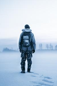 Man Winter Snow 8k