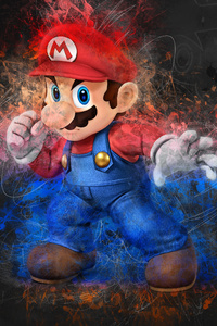 320x480 Mario Artwork 4k