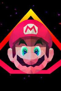 1440x2960 Mario Low Poly Art