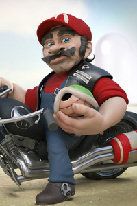 640x1136 Mario On Harley Davidson