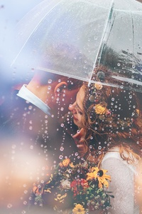 1440x2960 Married Couple Romantic Umbrella Raining Weeding