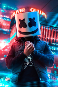 1440x2960 Marshmello Alone In City 4k