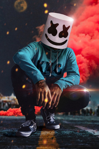 Marshmello Mask Colors 4k