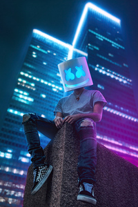 750x1334 Marshmello Sitting On Roof Top 4k