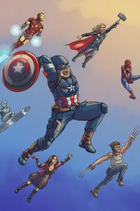 750x1334 Marvel Heroes Artwork 5k
