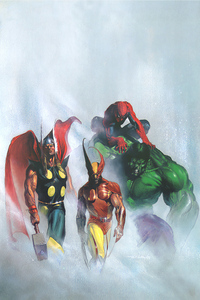 1242x2688 Marvel Heroes Paint Art