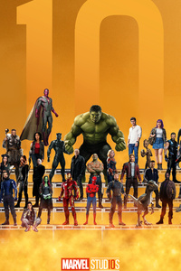 540x960 Marvel Superheroes 10 Year Anniversary Artwork