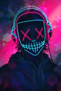 1242x2688 Mask Boy Listening Music Neon 4k