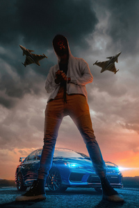 720x1280 Mask Boy Planes Car 4k