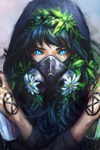 Mask Girl With Bottle Spray