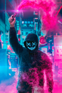 1280x2120 Mask Guy Neon Man With Smoke Bomb 4k