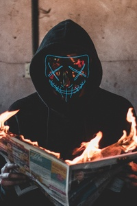 1080x2160 Mask Guy Reading A Burning News Paper